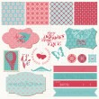 Scrapbook design elements - Vintage Love Set — Imagen vectorial