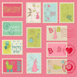 Baby Girl Postage Stamps - for scrapbook, invitation — Stock Vector