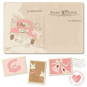 复古明信片和邮票-婚礼设计 — 图库矢量图片