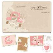 Vintage postcard en postzegels - voor bruiloft ontwerp — Stockvector