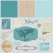 Scrapbook design elements - Vintage Music Set — Stok Vektör