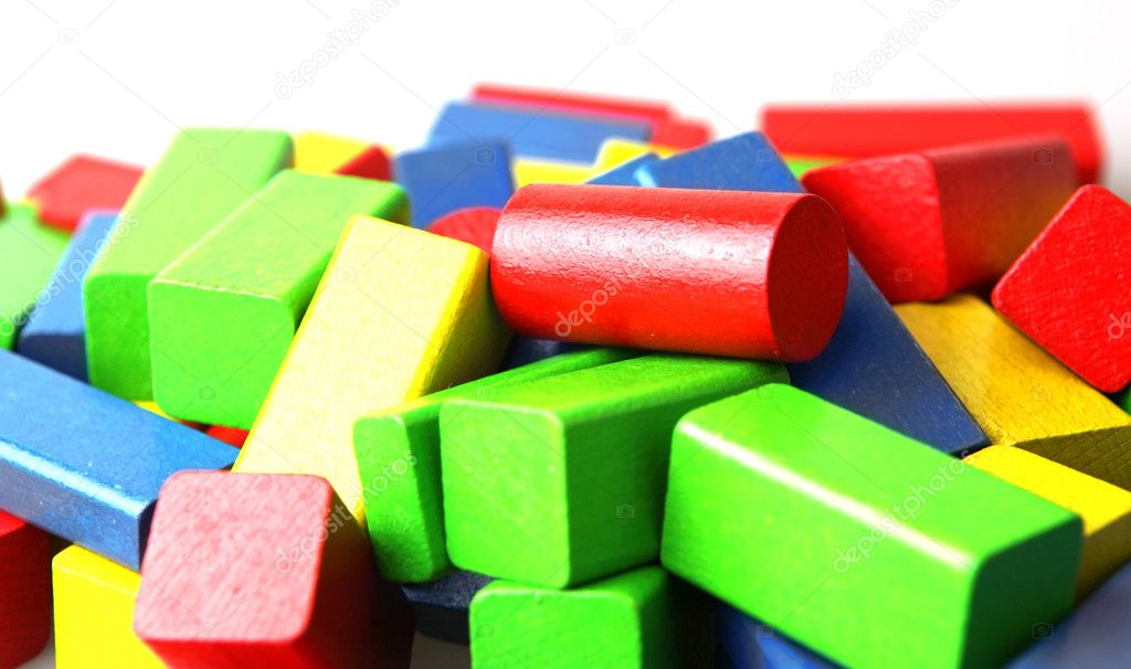 Wooden building blocks on white background — Stock Photo #7665483