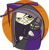 мультфильм ведьма — Cтоковый вектор