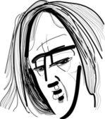 Man with long hair — Stock Vector