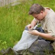 Entomologist in the field — Stock Photo