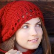 Woman and red hat — Stock Photo