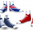 Stock Photo: Pairs of isolated sneakers illustration
