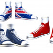 Royalty-Free Stock Photo: Pairs of isolated sneakers illustration