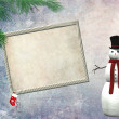 Stock Photo: Christmas empty frame with snowman
