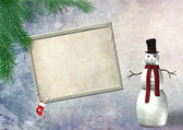Christmas empty frame with a snowman — Stock Photo