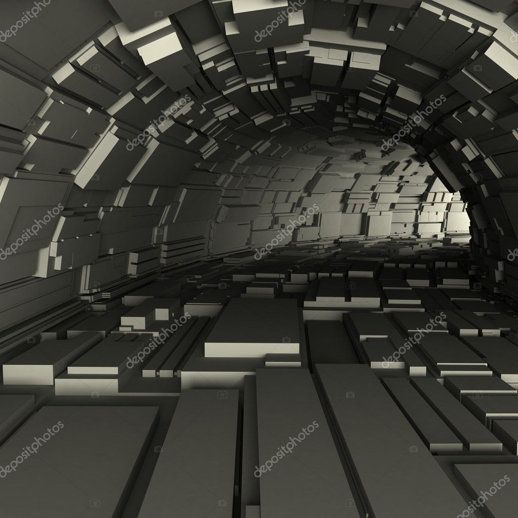 3d render of a tunnel with cubic protrusions from the walls — Stock Photo #7399502