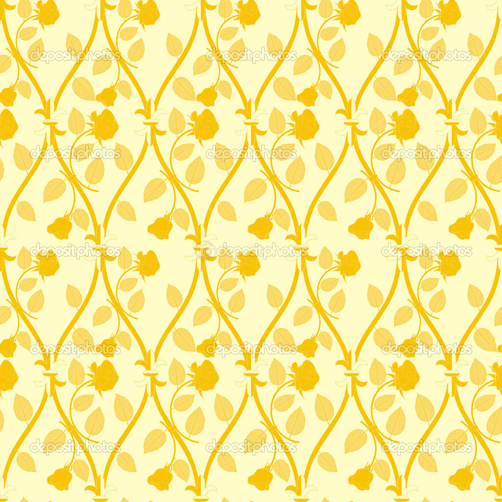 Seamless abstract golden rose pattern on yellow background  Stock Photo #6766675
