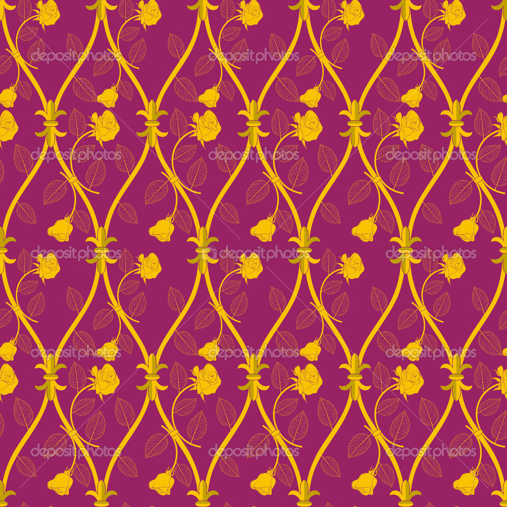 Seamless abstract golden rose pattern on pink background — Stock Photo #6766725