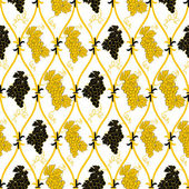 シームレスな抽象的な黄金のぶどう柄 — ストックベクタ