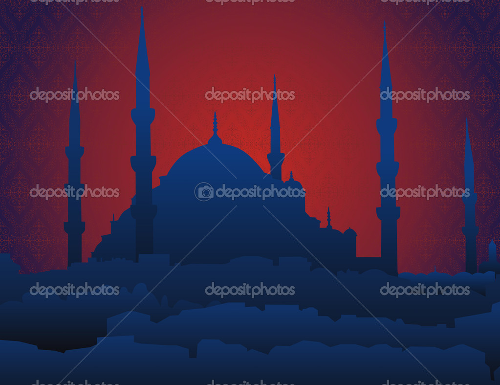 Night silhouette of oriental mosque on ancient arabesque background — Stock Photo #6829209