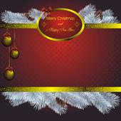 Nieuwjaarskaart met gouden label — Stockvector