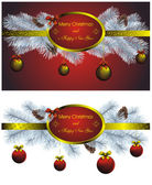 Christmas label set with golden decor — Stock Vector