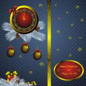 金時計付きのクリスマス カード — ストックベクタ