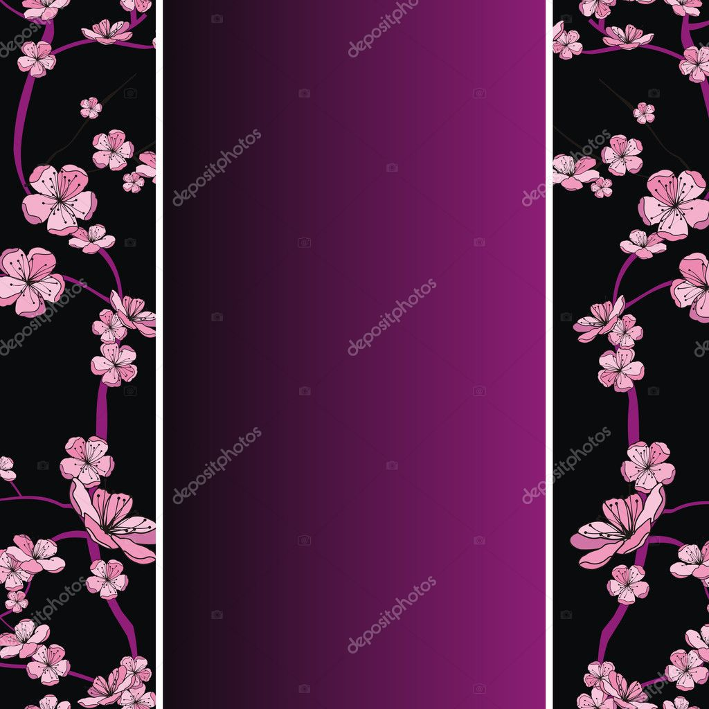 Seamless spring flowering branch pattern on strip background — Stock Vector #7351512