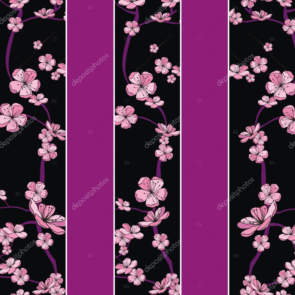 Spring flowering branch pattern on strip background  Stock Vector #7351521