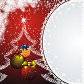 Tarjeta de año nuevo con una decoración de navidad — Vector de stock