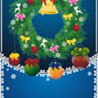 Stock Vector: New year card with christmas wreath