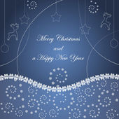 Tarjeta de navidad con copos de nieve — Vector de stock