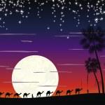 Caravan of camels in the desert — Stock Vector #7887378