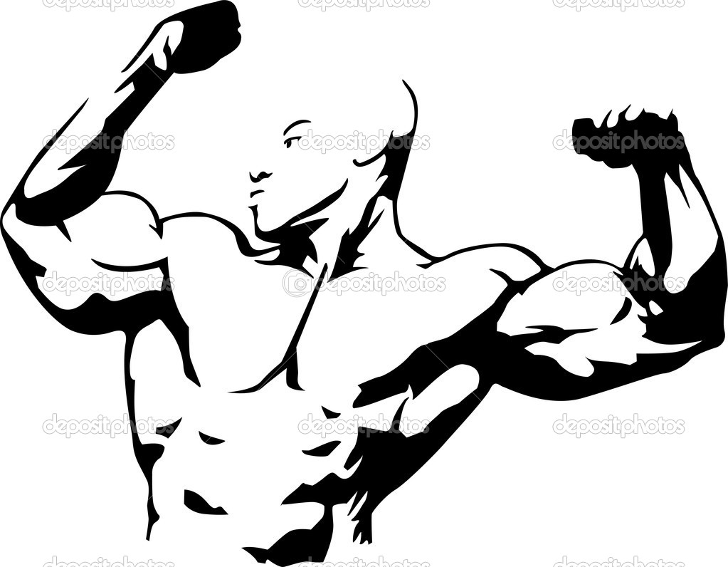 Vector illustration of muscle man suitable for body building club — Stock Vector #7473513