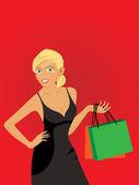 Shopping Girl — Stock Vector