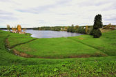 Aleksandro-Svirskiy monastery. Roshchinskoye lake — Stock Photo