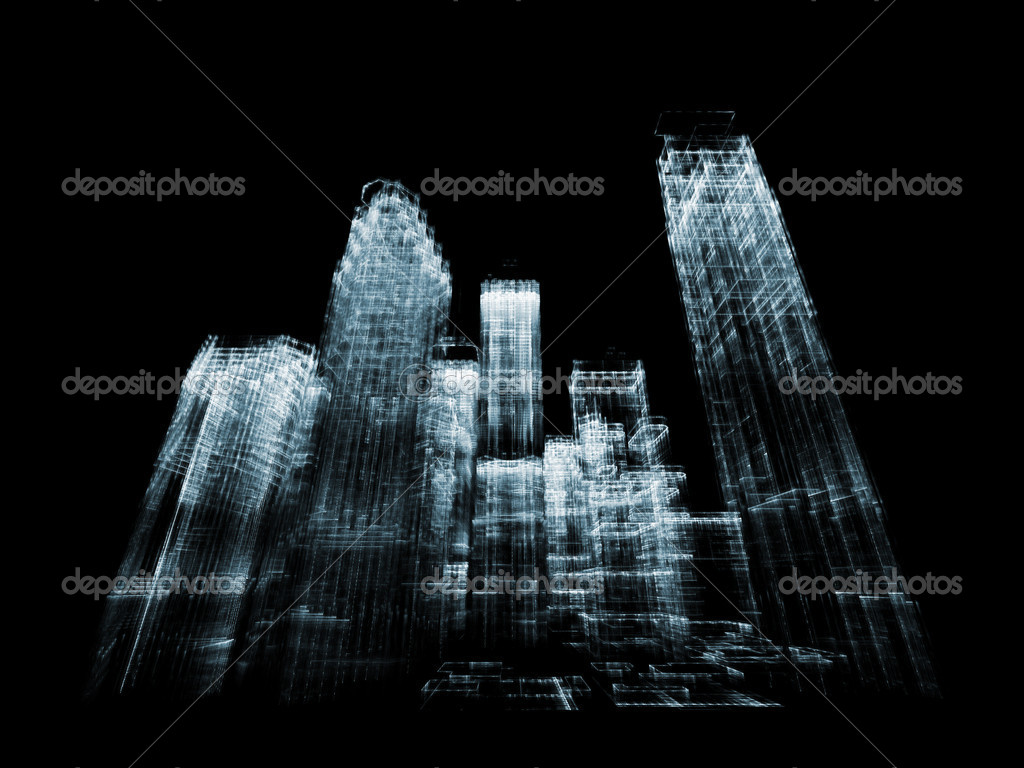Abstract building structures rendered against plain background suitable as business, technology backdrop — Stock Photo #7140927