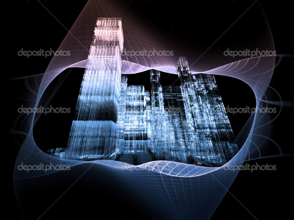 Interplay of abstract building structures and geometric grids on the subject of modern technologies and business — Stock Photo #7140929