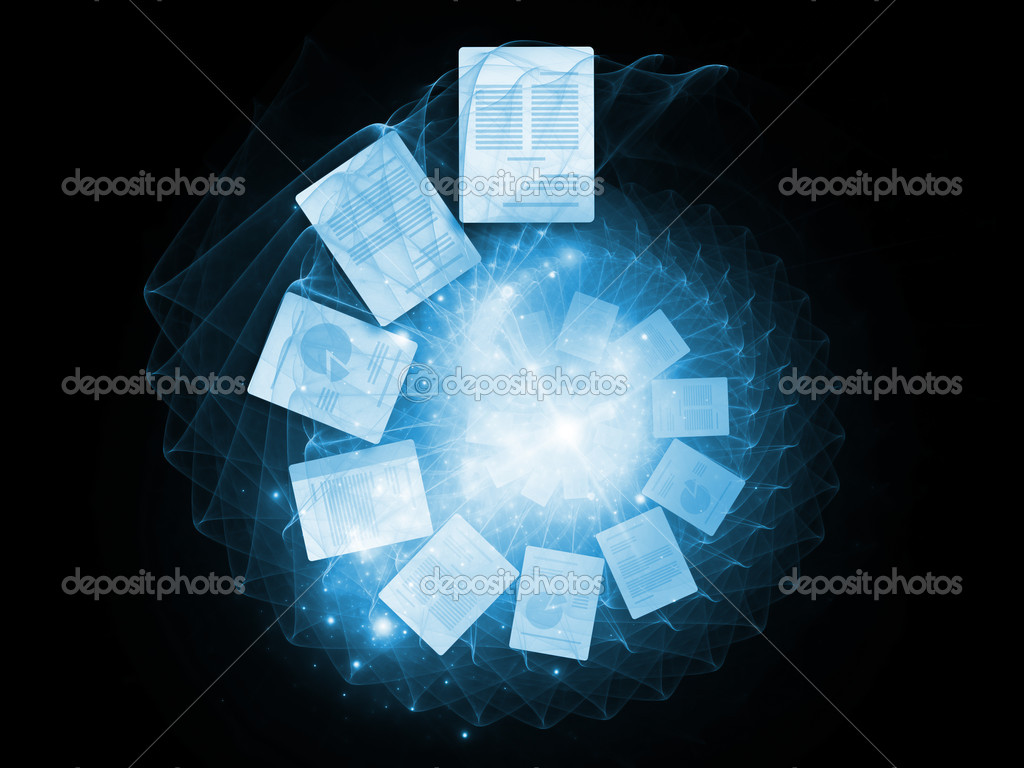 Interplay of spiral structures and documents on the subject of office work and information processing — Stock Photo #7140950
