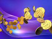 Golden Dollar Wave — Stock Photo