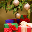 Christmas presents decorated — Stock Photo