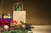 Christmas presents and a shopping bag — Stok fotoğraf