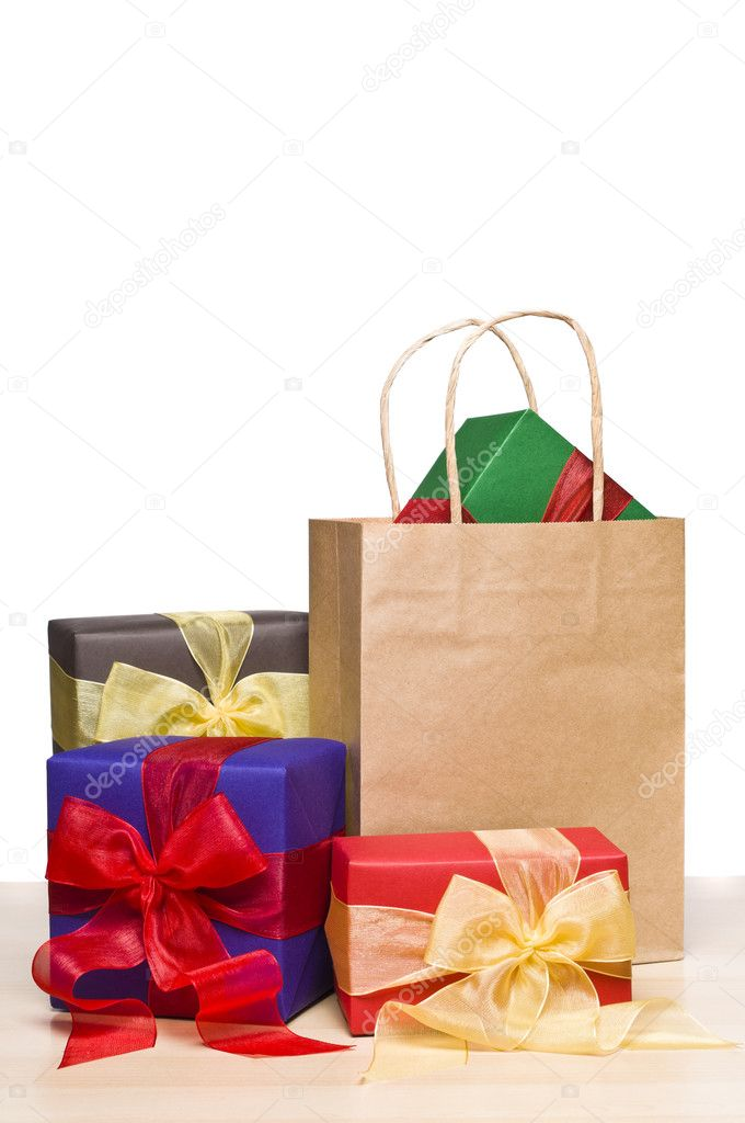 Christmas presents and a shopping bag, over white  Stock Photo #7112575