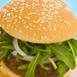 Hamburger with onion and salad — Photo #7277783