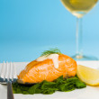 Salmon steak on spinach with a glass of wine - Стоковая фотография