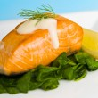 Salmon steak on spinach, decorated with lemon, dill and sauce — Stockfoto