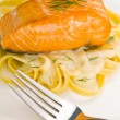 Salmon steak on pasta, decorated with dill — Stock Photo