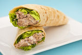 Two tuna melt wrap on a white plate — Stock Photo