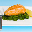 Salmon steak on spinach, decorated with lemon — Stock Photo #7379218
