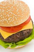 Classic Hamburger with cheese tomato and salad — Stock Photo
