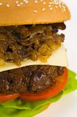 Classic Hamburger with cheese tomato salad — Stock Photo