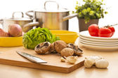 Kitchen still life, preparation for cooking — Stock Photo