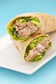 Two tuna melt wrap on a white plate — Foto de Stock