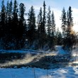 Steaming river in winter - Stock Photo