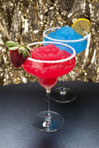 Strawberry and a Blue margarita Cocktail — Stock Photo